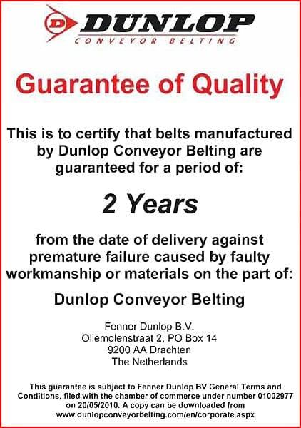 Dunlop Conveyor Belting Guarantee